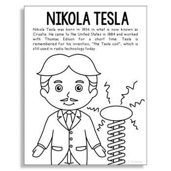 Nikola Tesla Coloring Page Activity or Poster with Mini Bi