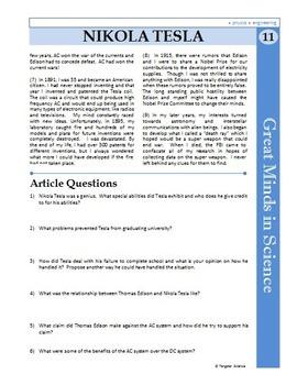 Nikola Tesla - Great Minds in Science Article #11 - Science Literacy Sub Plan
