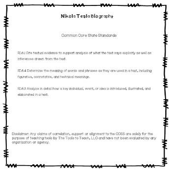 Nikola Tesla Nonfiction Passages and Comprehension Questions No Prep Activity
