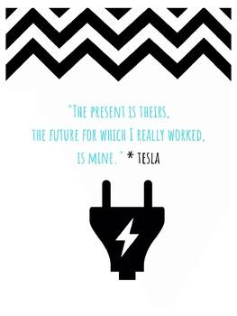 Nikola Tesla STEM Growth Mindset Poster Engineer, Inventor, Futurist