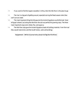 Nile River Ecosystem Article and assignment