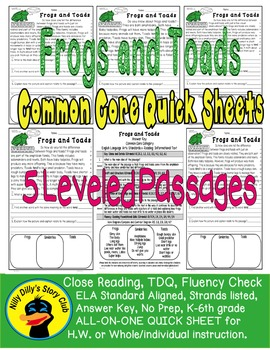 Nilly Dilly's: Frogs and Toads, Common Core, 5 level passages, all-on-one sheet