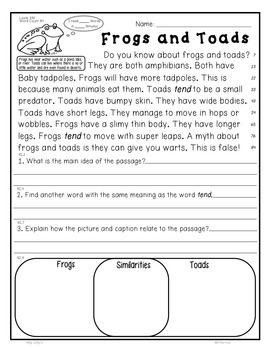 Frogs and Toads CLOSE READING 5 LEVELED PASSAGES Main Idea Fluency TDQs & More