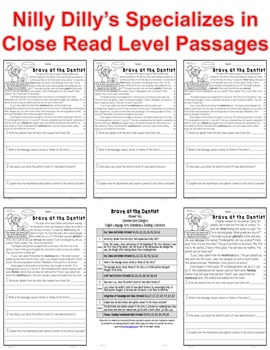 """""""Bravery"""" Leveled Passages (5) Moral Lesson Message Story ALL-ON-ONE SHEET"""