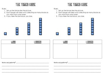 Nim Games: The Tower Game Score Sheet