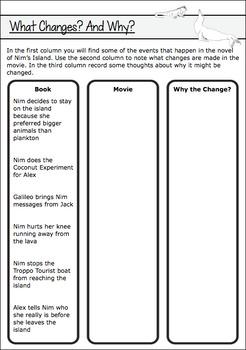 Nim's Island Book and Movie Comparison Activities