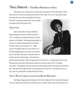 Nina Simone - Differentiated Reading (3 levels)