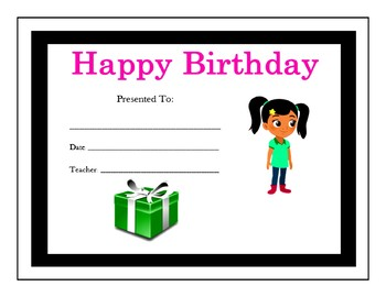 Nina's World Birthday Certificates (Includes 8 Certificates)
