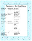 Nine Months of Spelling Menus