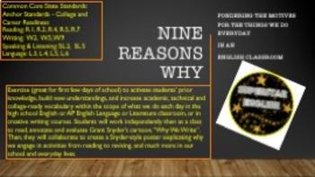 Nine Reasons Why: Back to School Activity HS English AP English Creative Writing