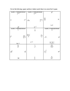 Nine Square Properties of Exponents