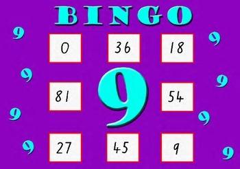 Nine Times Table Bingo - Class Set (30)