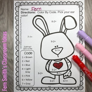 Color By Number St Valentine's Day Math Subtraction Color By Code