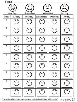Nine Week Behavior Chart