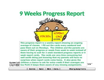 Nine Week Progress Card