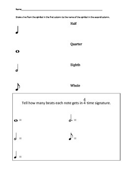 Nine worksheets covering the basics of music for review
