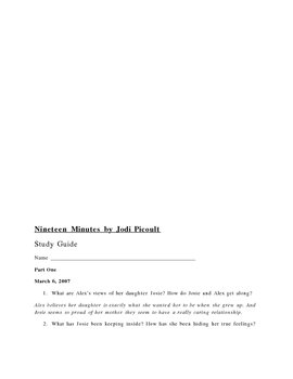 Nineteen Minutes by Picoult: Study Guide & Journal Prompts w/ answers