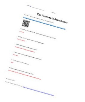 Nineteenth Amendment Internet Worksheet