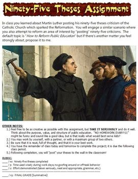 Ninety-Five Theses Assignment