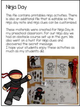 Ninja Activities for Preschool and Kindergarten