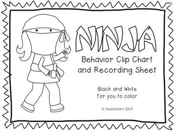 Ninja Behavior Clip Chart {Ink Saver}