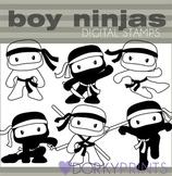 Ninja Boys Black Line Clip Art