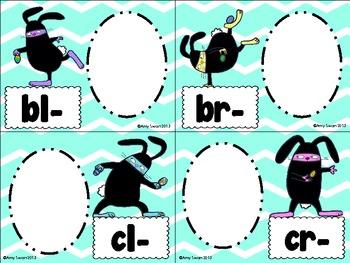 Ninja Bunny Beginning Blends literacy station