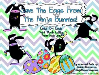 Ninja Bunny Color by Code Sight Words