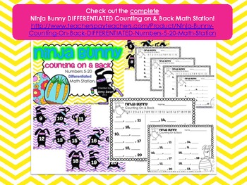 Ninja Bunny Counting On & Back - Numbers 5-12 Math Station FREEBIE