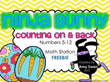 Ninja Bunny Counting On & Back - Numbers 5-12 Math Station