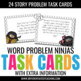 24 Word Problems w/ Extra Information Test Prep Task Cards - Ninja-Themed