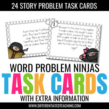 24 Word Problems w/ Extra Information Test Prep Task Cards - Ninja-Themed