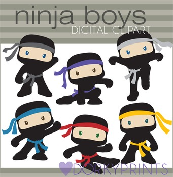 Ninja Clip Art - Boy Ninjas with No Weapons
