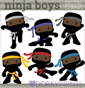 Ninja Clip Art - Boy Ninjas with No Weapons