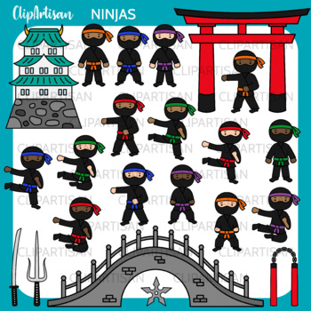 Ninja Boys Clip Art, Martial Art Printable