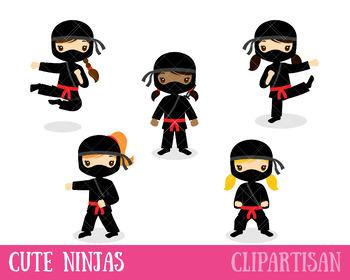 Ninja Girls Clip Art, Martial Art Printable