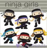 Ninja Clip Art - Girl Ninjas with No Weapons
