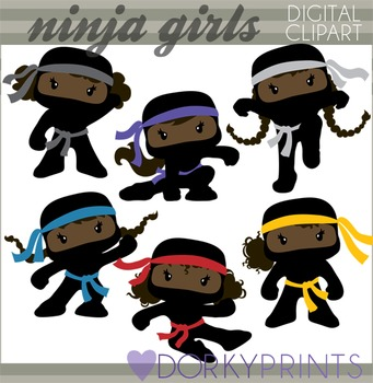 Ninja Clip Art - Girl Ninjas with No Weapons
