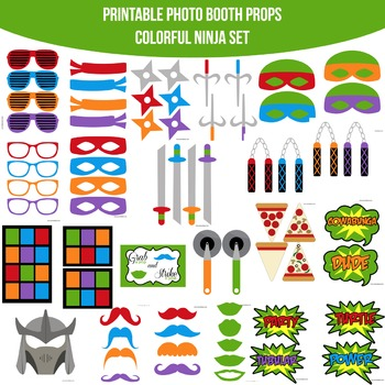 Ninja Colorful Printable Photo Booth Prop Set