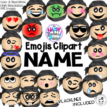 HTP Clip Art Ninja Emojis Watercolor {The Happy Teacher's Palette}
