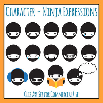 Ninja Expressions / Emotions Clip Art Set for Commercial Use