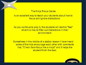 Ninja Focus; A game to increase attention.