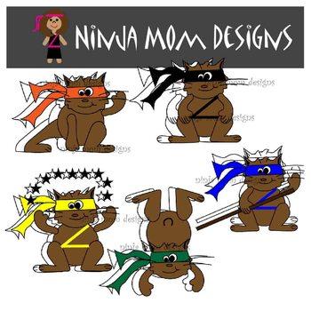 Ninja Hamster Clip Art in Color and Black Line