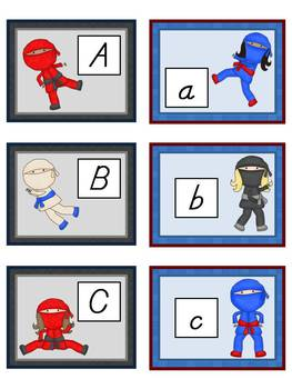 Ninja Alphabet Cards and Charts (D'Nealian and Zaner-Bloser manuscripts)