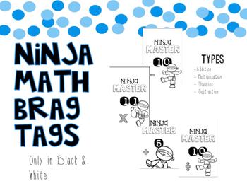ninja math brag tags