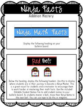 math facts fluency ninja addition facts