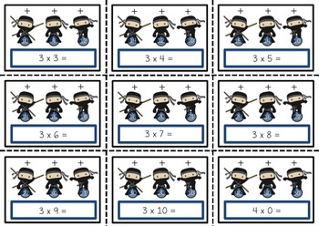 Ninja Multiplication Poke Cards (Math Facts Practice)