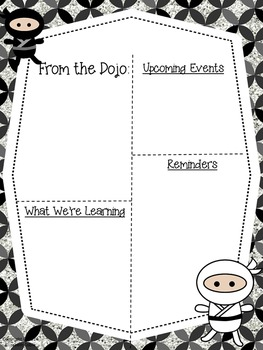 Ninja Newsletter Freebie {Editable Black & White AND Color Versions}
