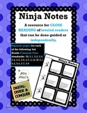 Ninja Notes:  Independent Close Reading Based on Common Core