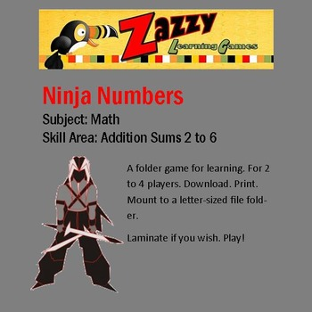 Ninja Numbers Folder Game Addition Sums 2 to 6